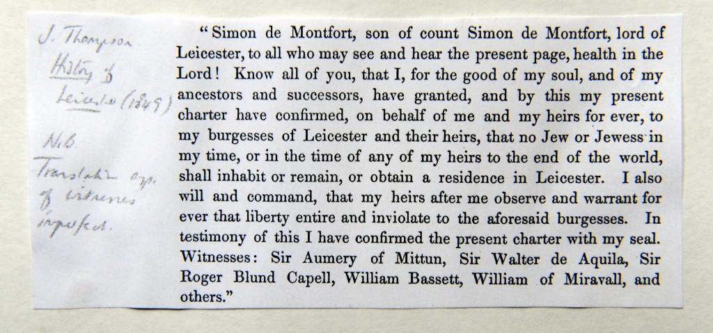 Simon de Montfort's charter